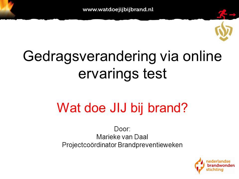Door Marieke van Daal Projectcoördinator Nationale Brandpreventieweken Gedragsverandering via online ervarings test Wat doe JIJ bij brand.
