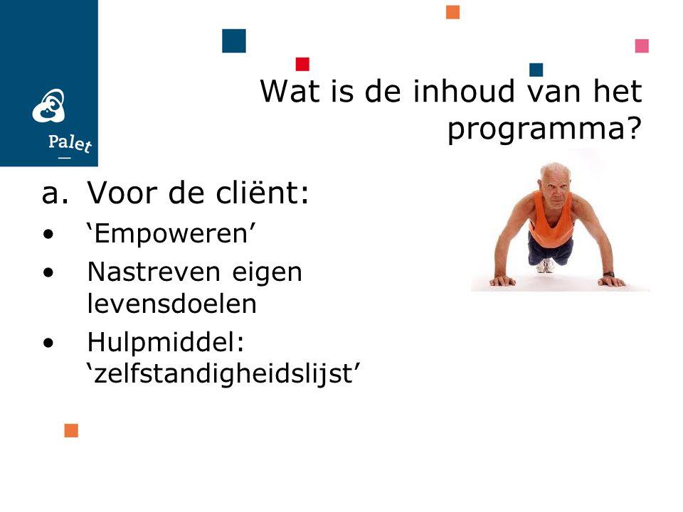 a.Voor de cliënt: 'Empoweren' Nastreven eigen levensdoelen Hulpmiddel: 'zelfstandigheidslijst' Wat is de inhoud van het programma?