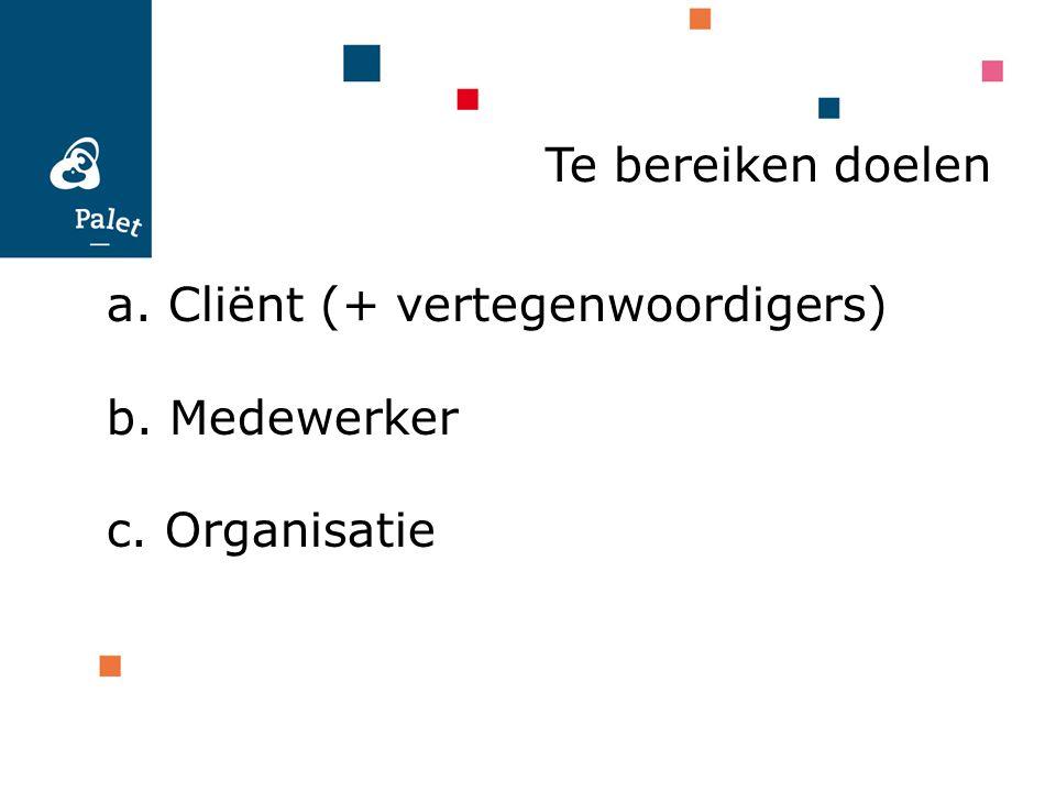 Te bereiken doelen a. Cliënt (+ vertegenwoordigers) b. Medewerker c. Organisatie