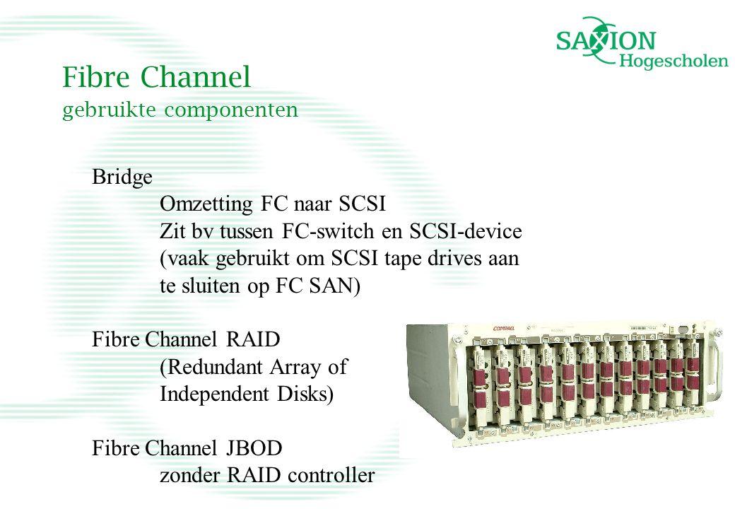 Fibre Channel gebruikte componenten Bridge Omzetting FC naar SCSI Zit bv tussen FC-switch en SCSI-device (vaak gebruikt om SCSI tape drives aan te slu