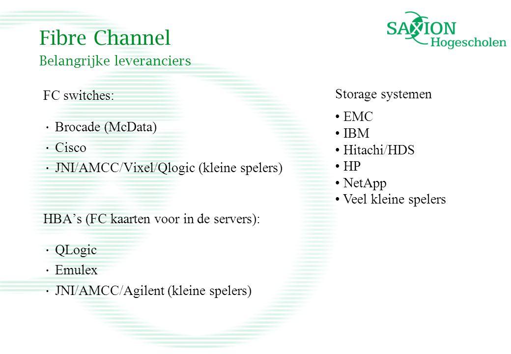 Fibre Channel Belangrijke leveranciers FC switches: Brocade (McData) Cisco JNI/AMCC/Vixel/Qlogic (kleine spelers) HBA's (FC kaarten voor in de servers