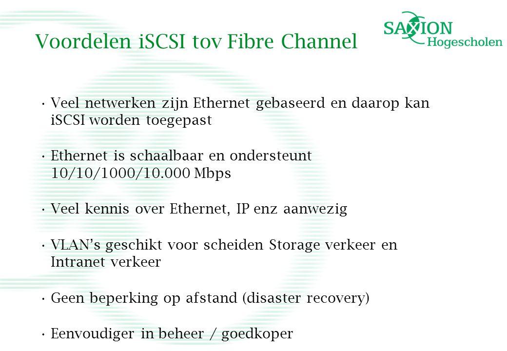 Voordelen iSCSI tov Fibre Channel Veel netwerken zijn Ethernet gebaseerd en daarop kan iSCSI worden toegepast Ethernet is schaalbaar en ondersteunt 10