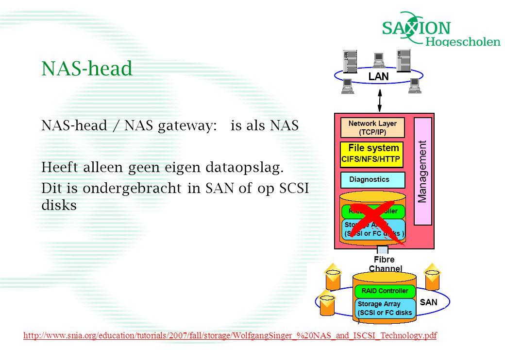 NAS-head NAS-head / NAS gateway: is als NAS Heeft alleen geen eigen dataopslag. Dit is ondergebracht in SAN of op SCSI disks http://www.snia.org/educa