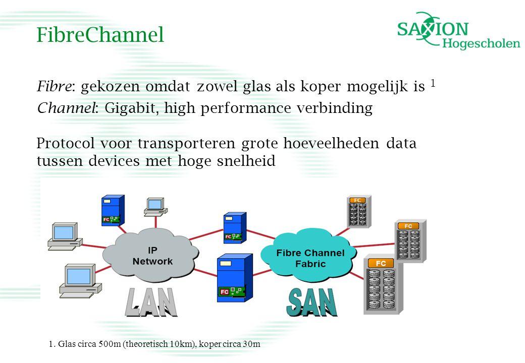 FibreChannel Fibre: gekozen omdat zowel glas als koper mogelijk is 1 Channel: Gigabit, high performance verbinding Protocol voor transporteren grote h