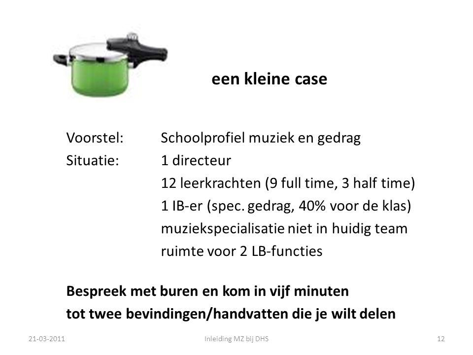 een kleine case Voorstel: Schoolprofiel muziek en gedrag Situatie: 1 directeur 12 leerkrachten (9 full time, 3 half time) 1 IB-er (spec.