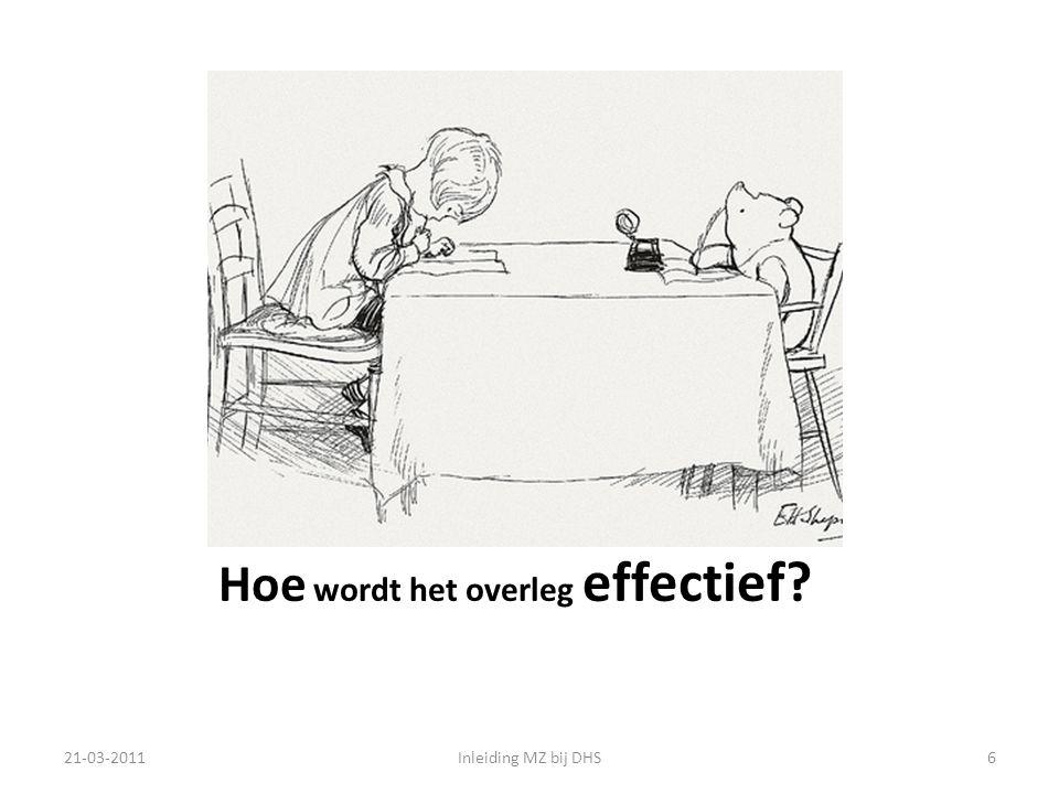 Hoe wordt het overleg effectief? 21-03-2011Inleiding MZ bij DHS6