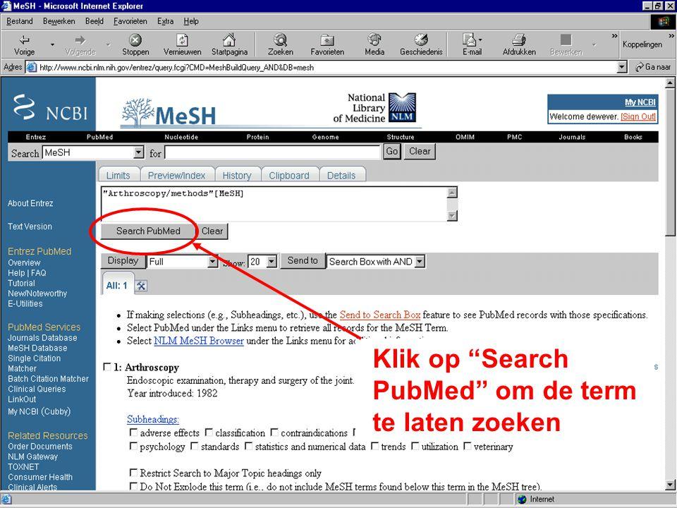"""Klik op """"Search PubMed"""" om de term te laten zoeken"""