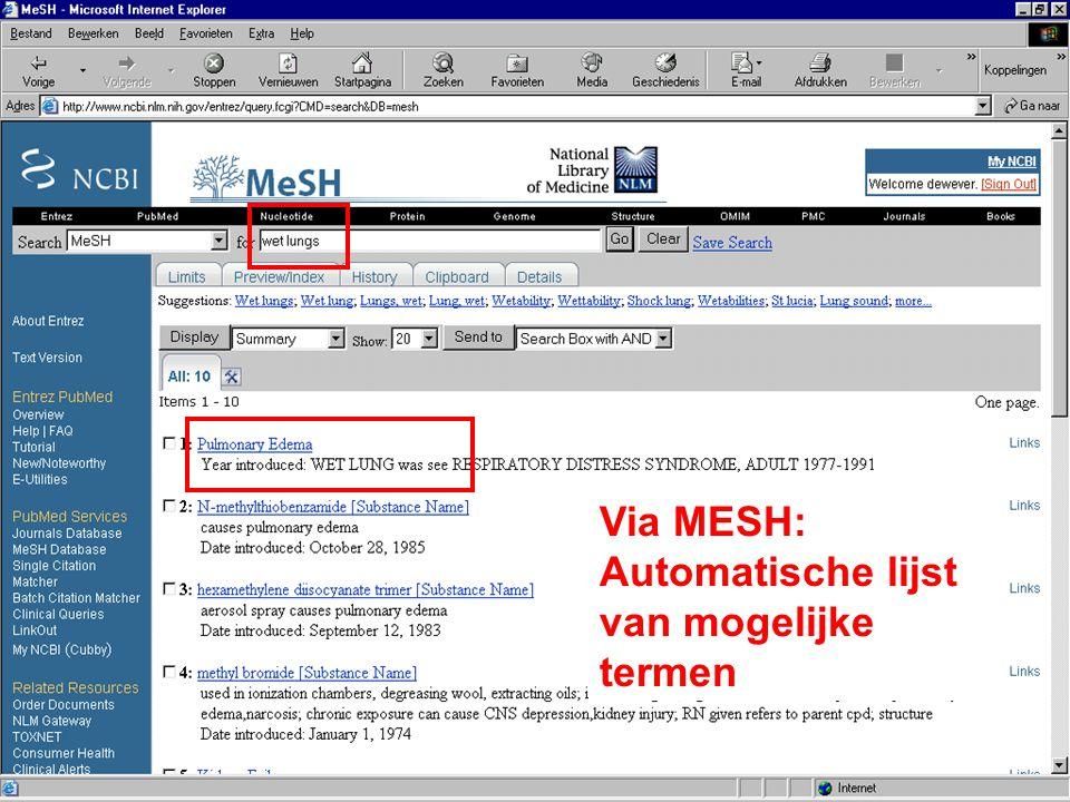 Via MESH: Automatische lijst van mogelijke termen