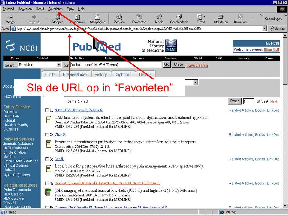 """Sla de URL op in """"Favorieten"""""""