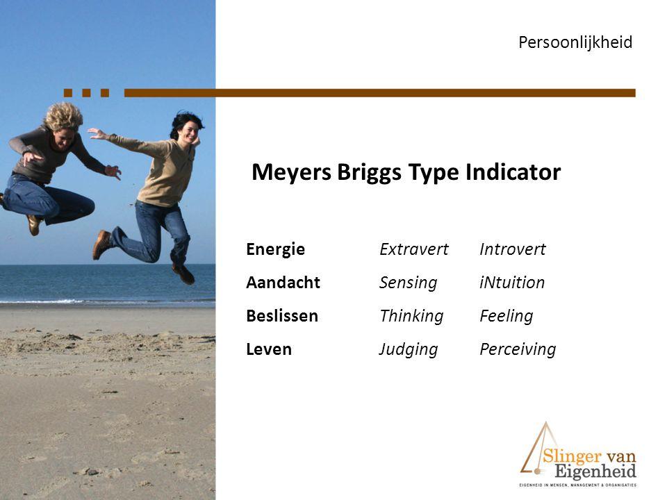 Meyers Briggs Type Indicator Persoonlijkheid EnergieExtravertIntrovert AandachtSensingiNtuition BeslissenThinkingFeeling LevenJudging Perceiving