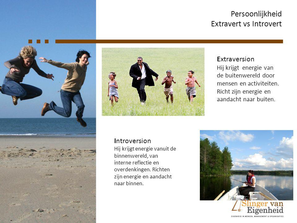 Persoonlijkheid Extravert vs Introvert Extraversion Hij krijgt energie van de buitenwereld door mensen en activiteiten. Richt zijn energie en aandacht