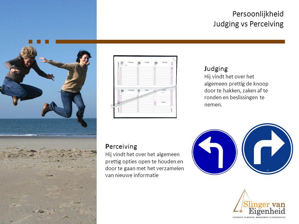 Persoonlijkheid Judging vs Perceiving Judging Hij vindt het over het algemeen prettig de knoop door te hakken, zaken af te ronden en beslissingen te n