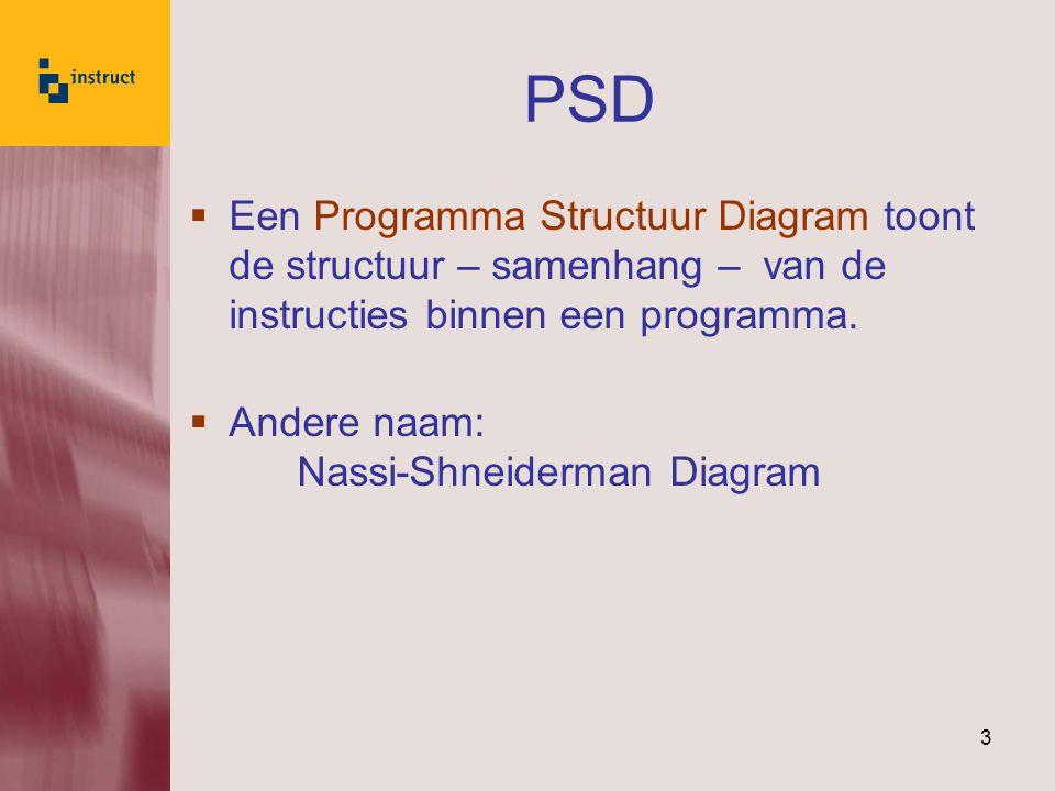 3  Een Programma Structuur Diagram toont de structuur – samenhang – van de instructies binnen een programma.  Andere naam: Nassi-Shneiderman Diagram