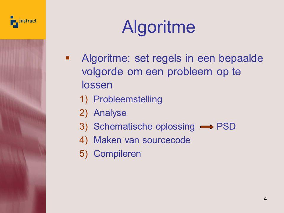 4 Algoritme  Algoritme: set regels in een bepaalde volgorde om een probleem op te lossen 1)Probleemstelling 2)Analyse 3)Schematische oplossing PSD 4)