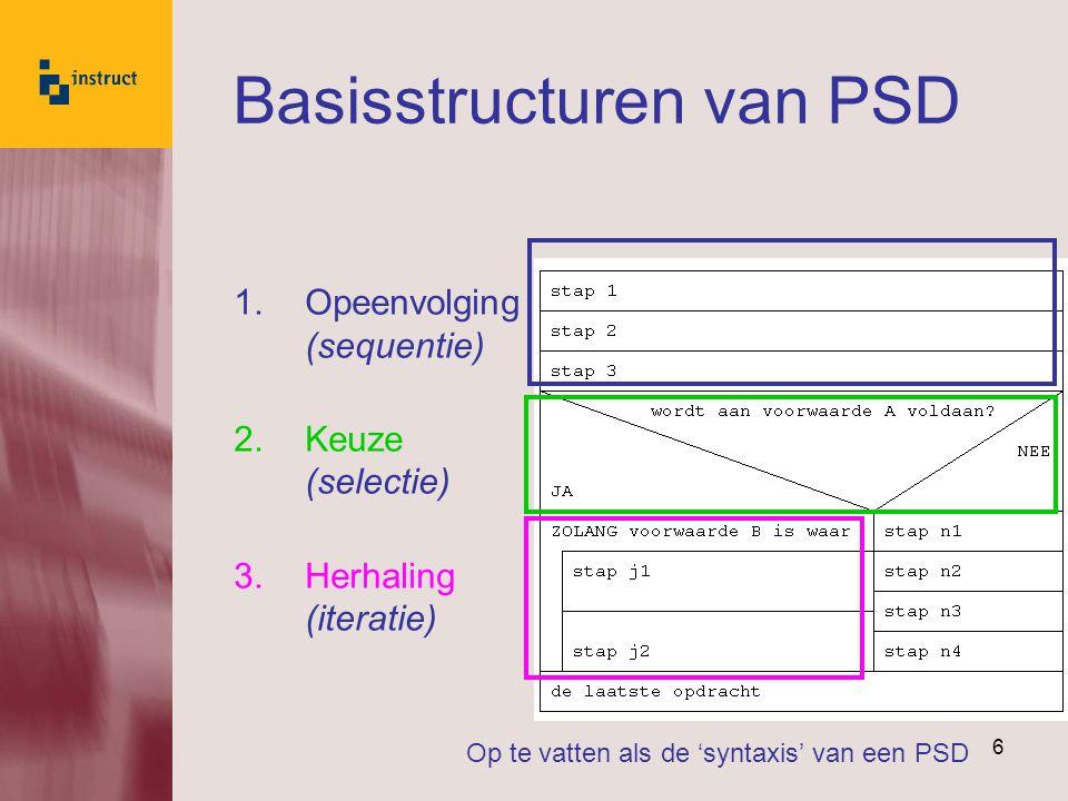 6 Basisstructuren van PSD 1.Opeenvolging (sequentie) 2.Keuze (selectie) 3.Herhaling (iteratie) Op te vatten als de 'syntaxis' van een PSD