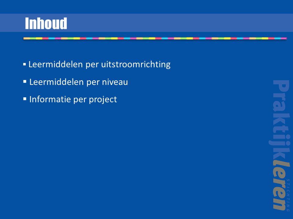 Leermiddelen per uitstroomrichting  Leermiddelen per niveau  Informatie per project Inhoud