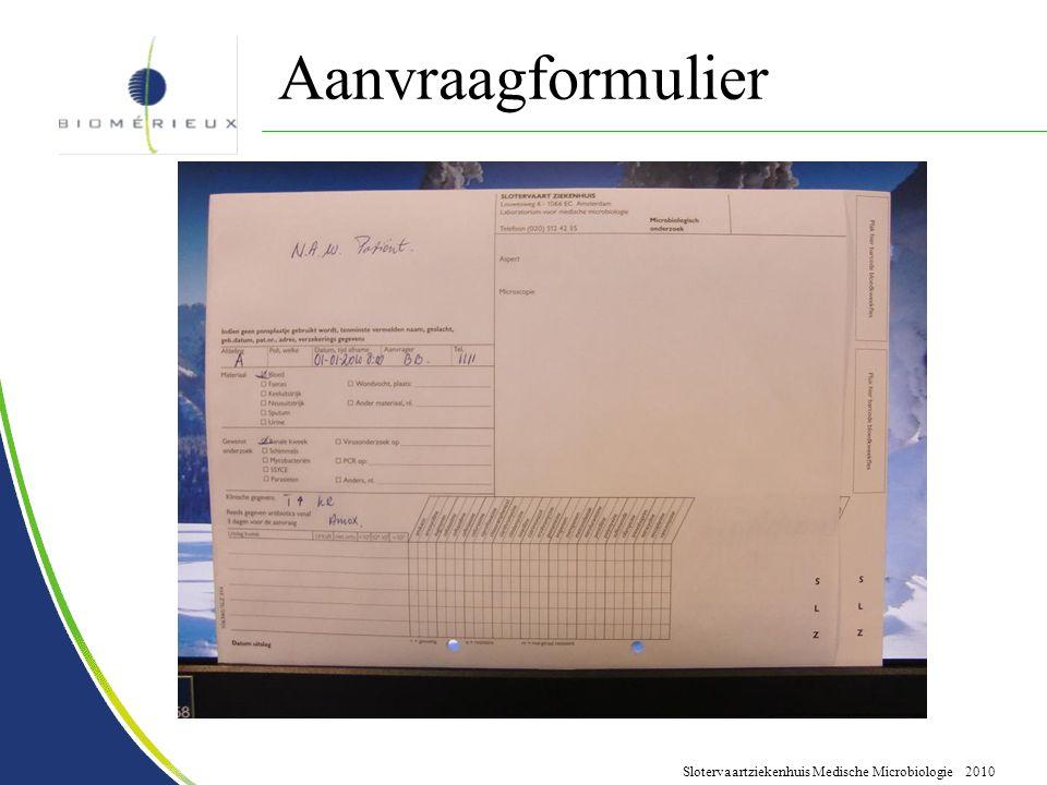 Slotervaartziekenhuis Medische Microbiologie 2010 Aanvraagformulier