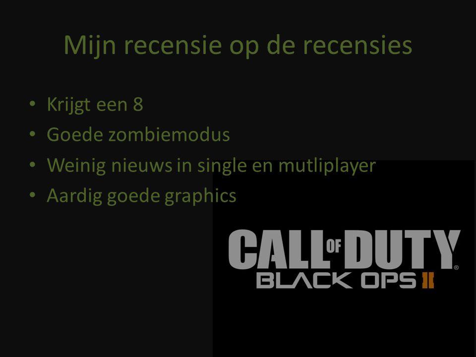 Mijn recensie op de recensies Krijgt een 8 Goede zombiemodus Weinig nieuws in single en mutliplayer Aardig goede graphics