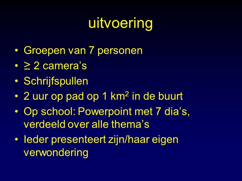 uitvoering Groepen van 7 personen ≥ 2 camera's Schrijfspullen 2 uur op pad op 1 km 2 in de buurt Op school: Powerpoint met 7 dia's, verdeeld over alle