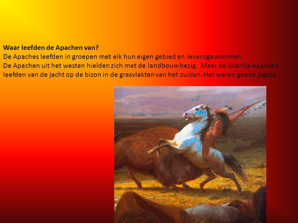 Wonen: De Apachen trokken rond op de grasvlaktes. Ze bouwden geen dorpen. Vele jaren lang hebben de indianen in tipi's gewoond. Omdat zij de grote kud