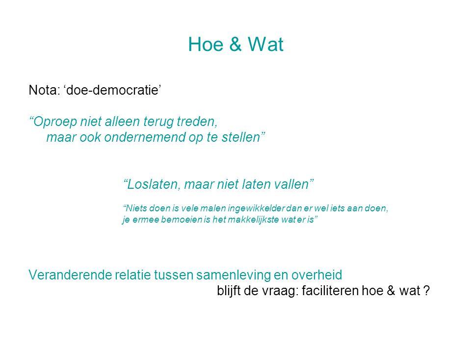 """Hoe & Wat Nota: 'doe-democratie' """"Oproep niet alleen terug treden, maar ook ondernemend op te stellen"""" """"Loslaten, maar niet laten vallen"""" """"Niets doen"""