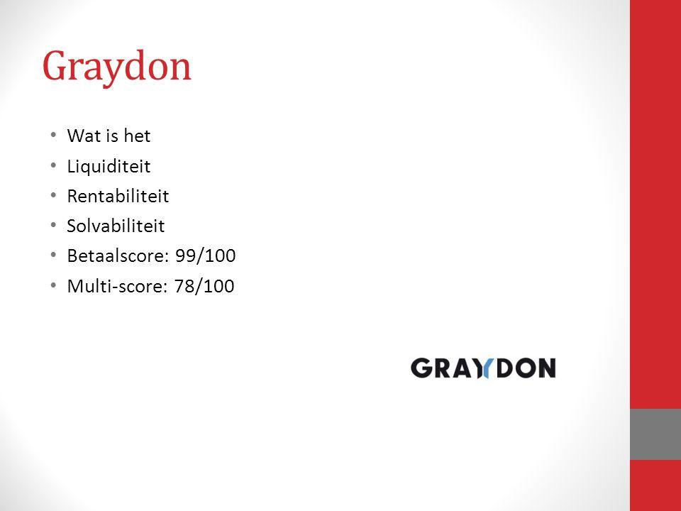 Graydon Wat is het Liquiditeit Rentabiliteit Solvabiliteit Betaalscore: 99/100 Multi-score: 78/100