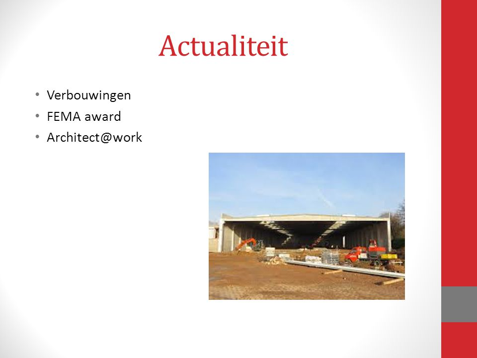 Actualiteit Verbouwingen FEMA award Architect@work