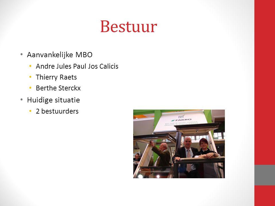 Bestuur Aanvankelijke MBO Andre Jules Paul Jos Calicis Thierry Raets Berthe Sterckx Huidige situatie 2 bestuurders