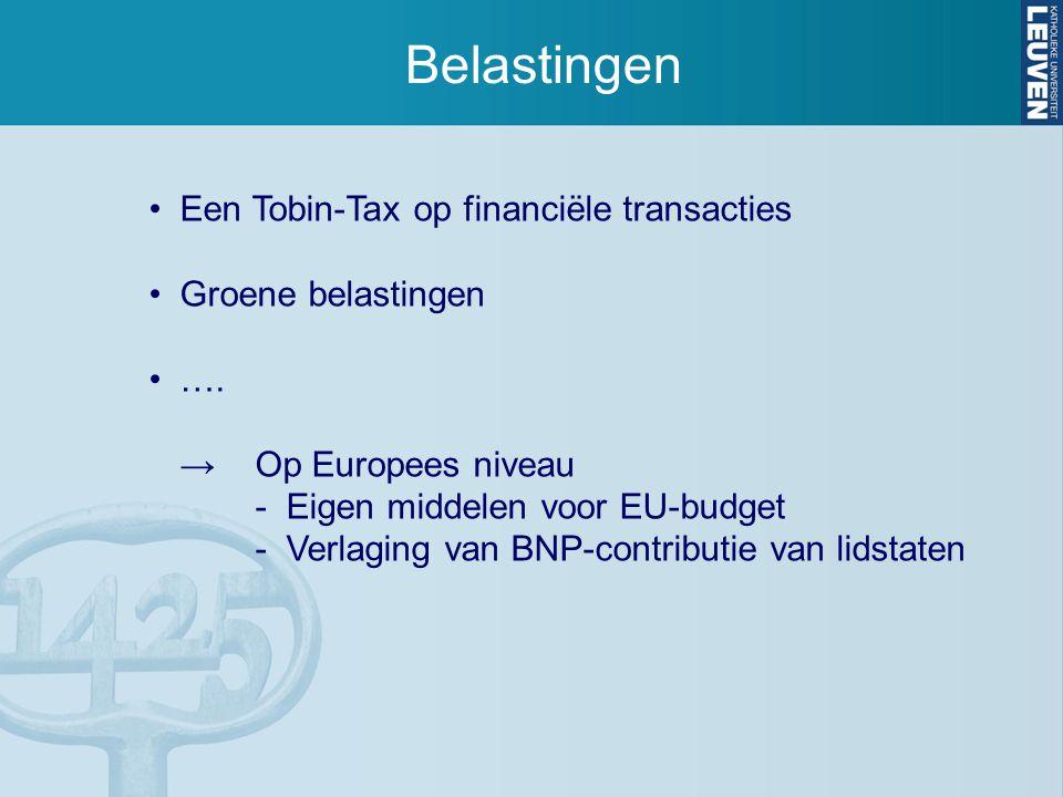 Belastingen Een Tobin-Tax op financiële transacties Groene belastingen …. →Op Europees niveau - Eigen middelen voor EU-budget - Verlaging van BNP-cont