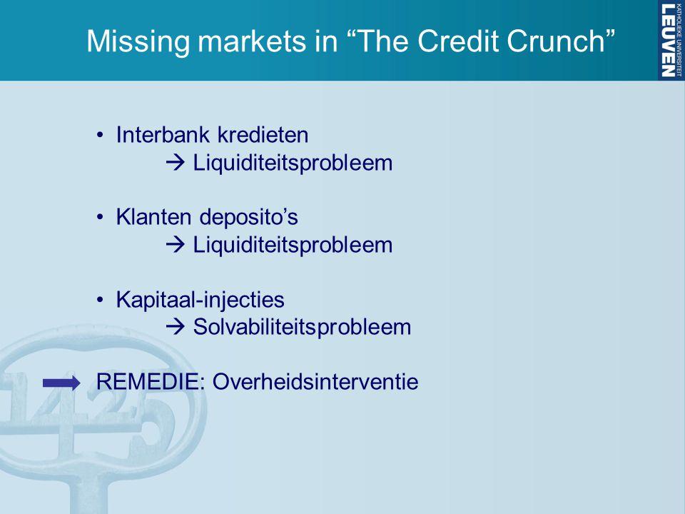 Missing markets in The Credit Crunch Interbank kredieten  Liquiditeitsprobleem Klanten deposito's  Liquiditeitsprobleem Kapitaal-injecties  Solvabiliteitsprobleem REMEDIE: Overheidsinterventie