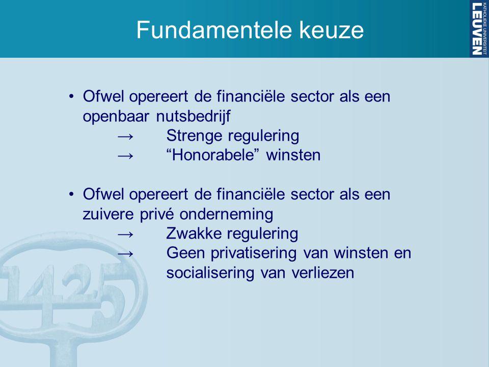 """Fundamentele keuze Ofwel opereert de financiële sector als een openbaar nutsbedrijf →Strenge regulering →""""Honorabele"""" winsten Ofwel opereert de financ"""