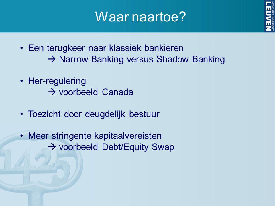 Waar naartoe? Een terugkeer naar klassiek bankieren  Narrow Banking versus Shadow Banking Her-regulering  voorbeeld Canada Toezicht door deugdelijk