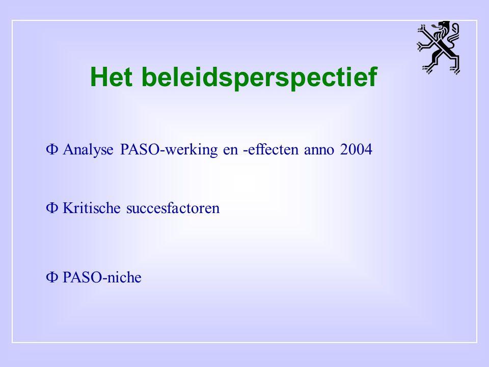 Het beleidsperspectief Ф Analyse PASO-werking en -effecten anno 2004 Ф Kritische succesfactoren Ф PASO-niche