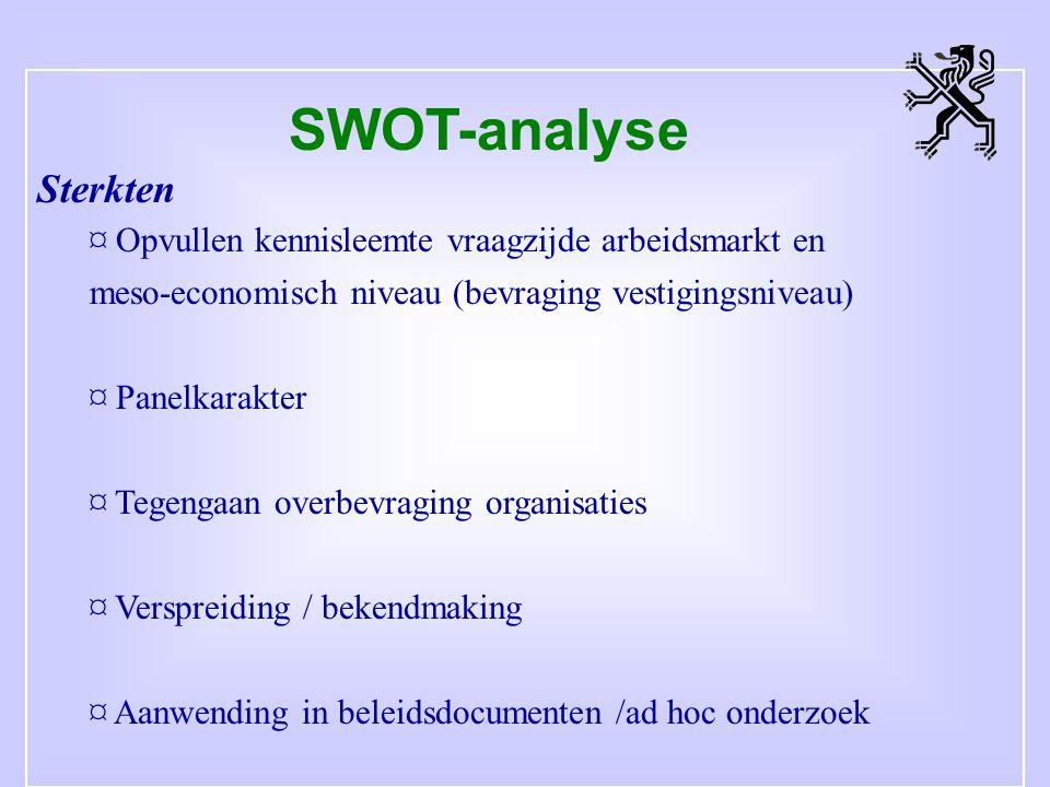 SWOT-analyse Sterkten ¤ Opvullen kennisleemte vraagzijde arbeidsmarkt en meso-economisch niveau (bevraging vestigingsniveau) ¤ Panelkarakter ¤ Tegengaan overbevraging organisaties ¤ Verspreiding / bekendmaking ¤ Aanwending in beleidsdocumenten /ad hoc onderzoek