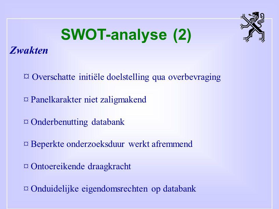 SWOT-analyse (2) Zwakten ¤ Overschatte initiële doelstelling qua overbevraging ¤ Panelkarakter niet zaligmakend ¤ Onderbenutting databank ¤ Beperkte onderzoeksduur werkt afremmend ¤ Ontoereikende draagkracht ¤ Onduidelijke eigendomsrechten op databank
