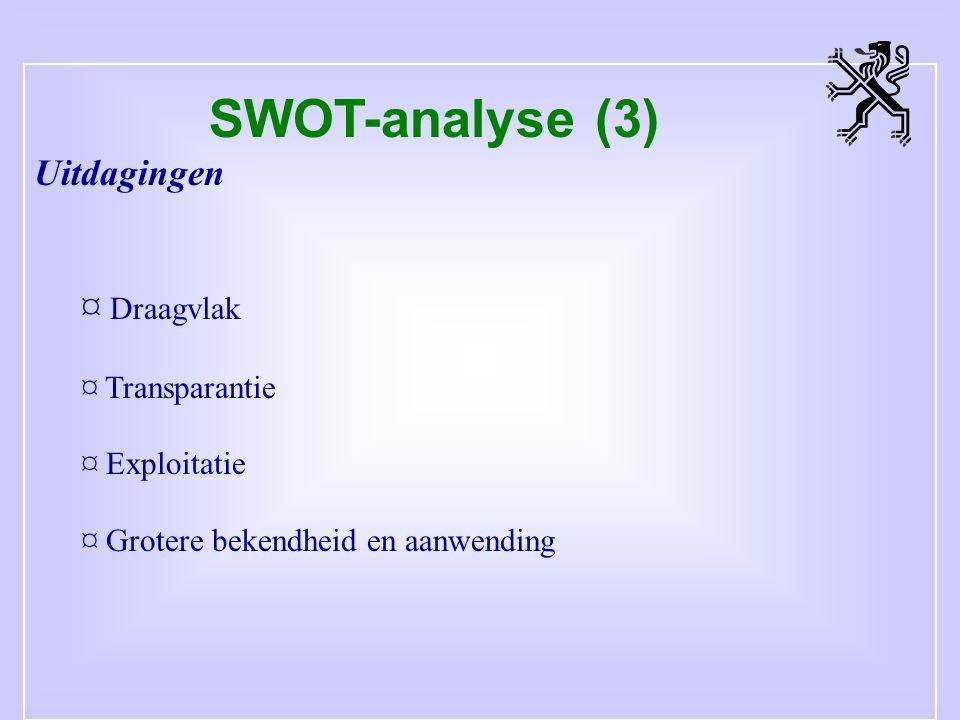 SWOT-analyse (3) Uitdagingen ¤ Draagvlak ¤ Transparantie ¤ Exploitatie ¤ Grotere bekendheid en aanwending