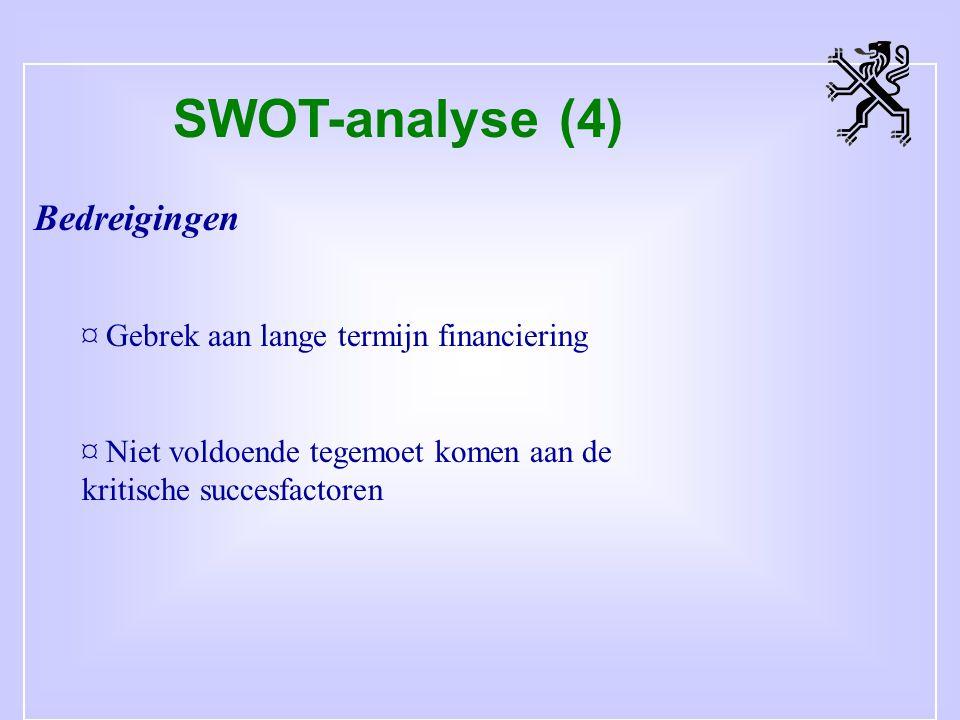 SWOT-analyse (4) Bedreigingen ¤ Gebrek aan lange termijn financiering ¤ Niet voldoende tegemoet komen aan de kritische succesfactoren