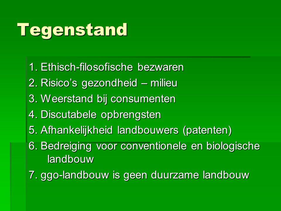 Tegenstand 1. Ethisch-filosofische bezwaren 2. Risico's gezondheid – milieu 3. Weerstand bij consumenten 4. Discutabele opbrengsten 5. Afhankelijkheid