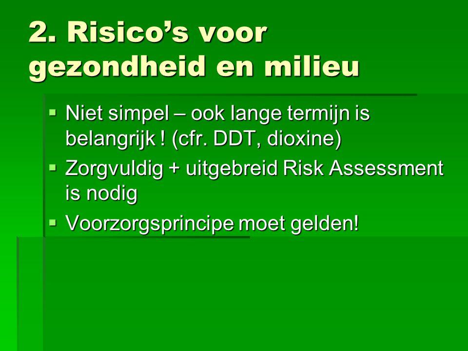 2. Risico's voor gezondheid en milieu  Niet simpel – ook lange termijn is belangrijk ! (cfr. DDT, dioxine)  Zorgvuldig + uitgebreid Risk Assessment