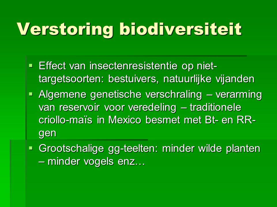 Verstoring biodiversiteit  Effect van insectenresistentie op niet- targetsoorten: bestuivers, natuurlijke vijanden  Algemene genetische verschraling