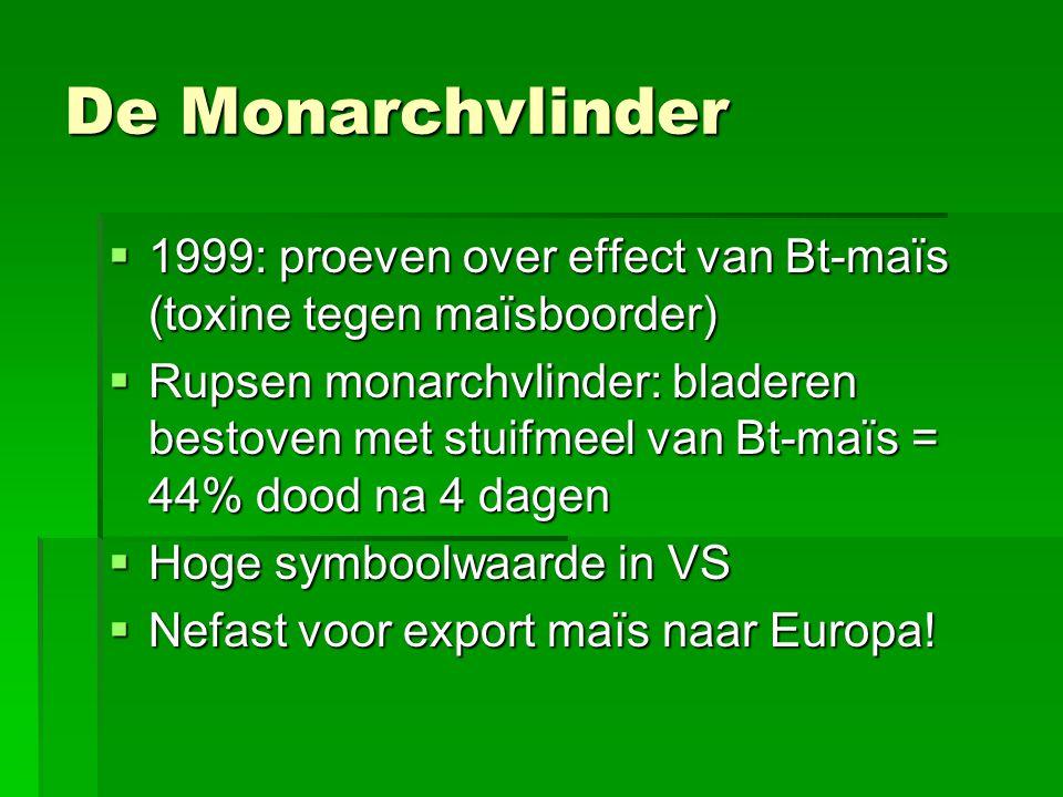  1999: proeven over effect van Bt-maïs (toxine tegen maïsboorder)  Rupsen monarchvlinder: bladeren bestoven met stuifmeel van Bt-maïs = 44% dood na