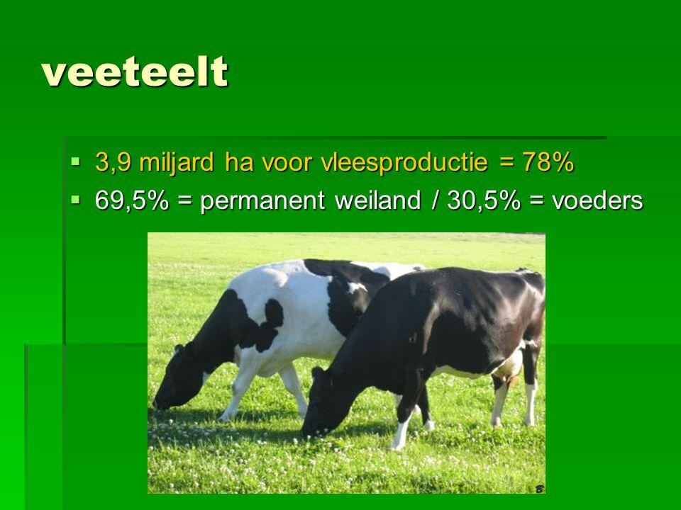 veeteelt  3,9 miljard ha voor vleesproductie = 78%  69,5% = permanent weiland / 30,5% = voeders