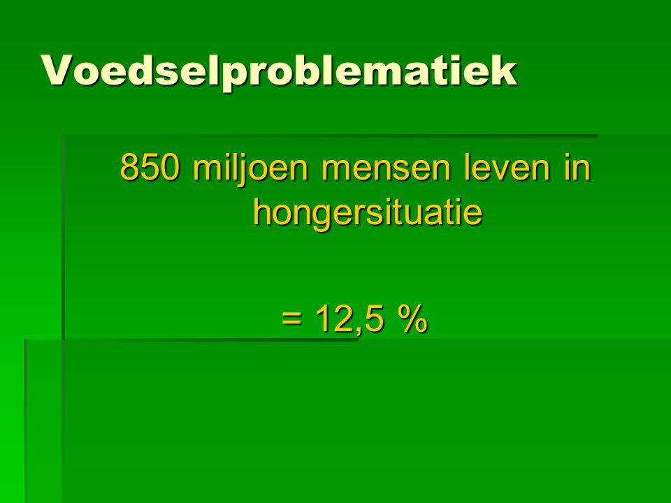 Voedselproblematiek 850 miljoen mensen leven in hongersituatie = 12,5 %