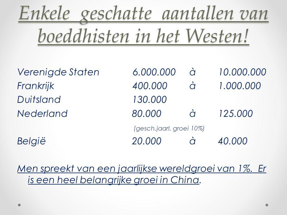 Enkele geschatte aantallen van boeddhisten in het Westen.