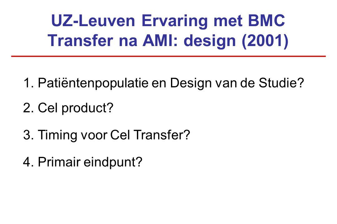 UZ-Leuven Ervaring met BMC Transfer na AMI: design (2001) 2. Cel product? 1. Patiëntenpopulatie en Design van de Studie? 3. Timing voor Cel Transfer?