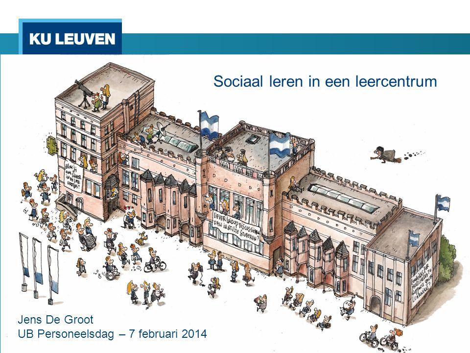 Sociaal leren in een leercentrum Jens De Groot AGORA Sociaal leren in een leercentrum Jens De Groot UB Personeelsdag – 7 februari 2014