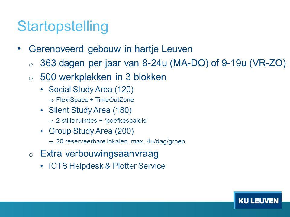 Gerenoveerd gebouw in hartje Leuven o 363 dagen per jaar van 8-24u (MA-DO) of 9-19u (VR-ZO) o 500 werkplekken in 3 blokken Social Study Area (120)  F
