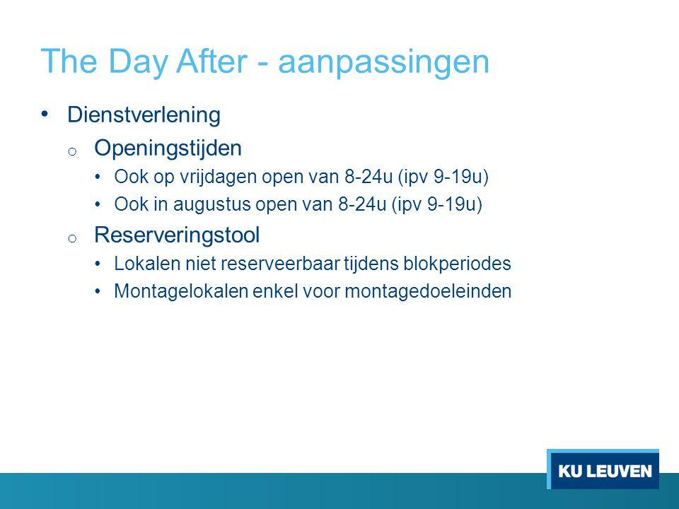 The Day After - aanpassingen Dienstverlening o Openingstijden Ook op vrijdagen open van 8-24u (ipv 9-19u) Ook in augustus open van 8-24u (ipv 9-19u) o