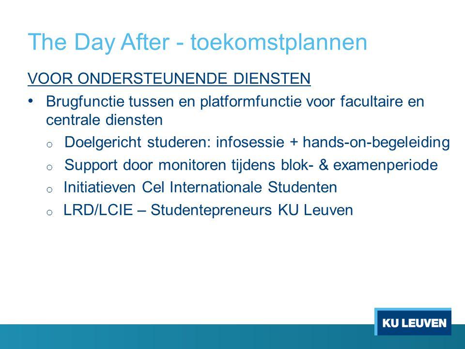 The Day After - toekomstplannen VOOR ONDERSTEUNENDE DIENSTEN Brugfunctie tussen en platformfunctie voor facultaire en centrale diensten o Doelgericht