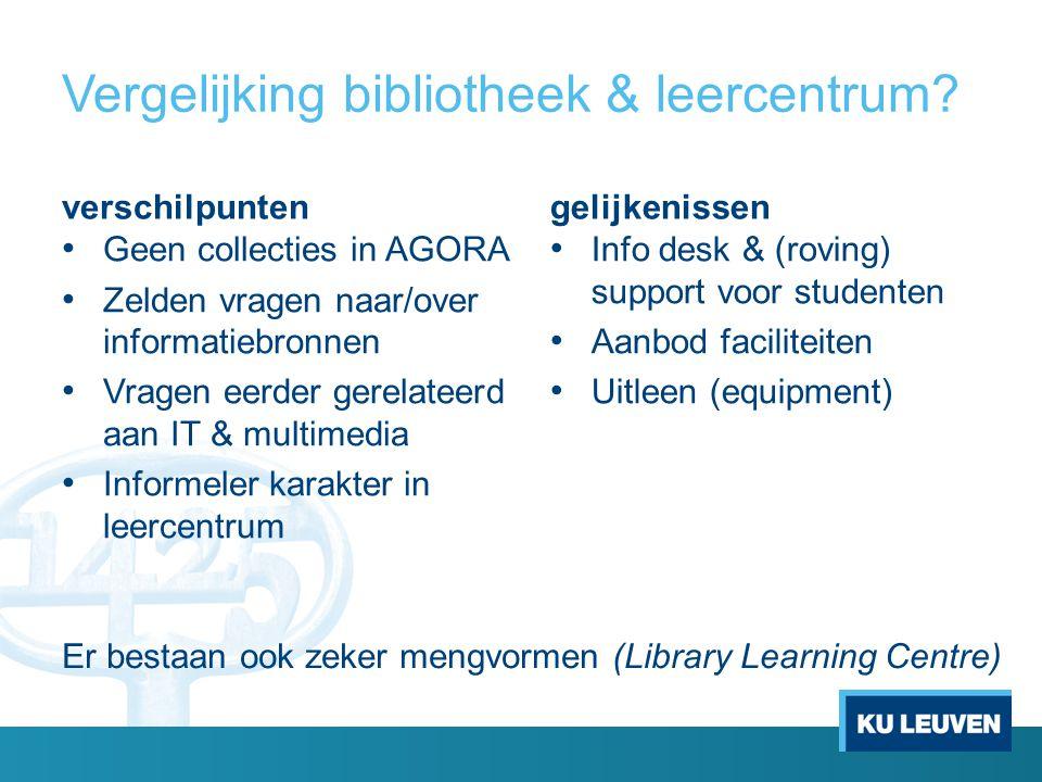 Vergelijking bibliotheek & leercentrum? verschilpunten Geen collecties in AGORA Zelden vragen naar/over informatiebronnen Vragen eerder gerelateerd aa